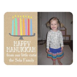 Happy Hanukkah Playful Menorah Photo Card