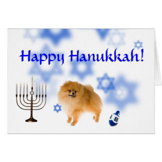 Happy Hanukkah pomeranian Greeting Cards