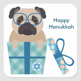 Happy Hanukkah Pug Sticker