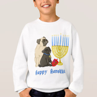 Happy Hanukkah Pugs with Menorah Tees and Sweats