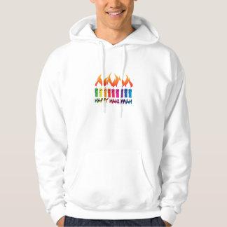 Happy Hanukkah Rainbow Menorah Hoodie