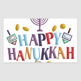 Happy Hanukkah Rectangular Sticker