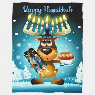 Happy Hanukkah Reindeer Fleece Blanket