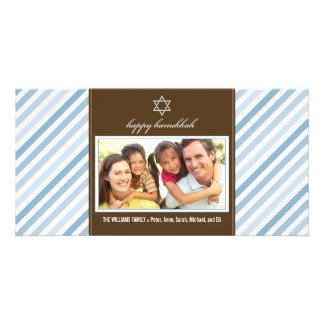 Happy Hanukkah Ribbon Family Photocard (blue) Photo Greeting Card