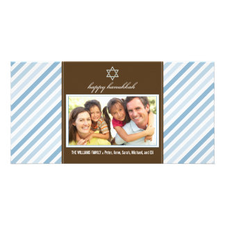 Happy Hanukkah Ribbon Family Photocard (blue) Photo Greeting Card