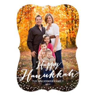 Happy Hanukkah Script Photo Card 13 Cm X 18 Cm Invitation Card
