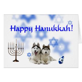Happy Hanukkah Siberian Husky Card