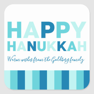 Happy Hanukkah | Simple Modern Blue and Teal Square Sticker