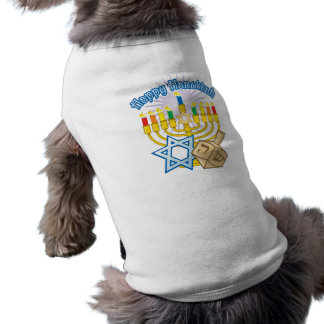 Happy Hanukkah Sleeveless Dog Shirt