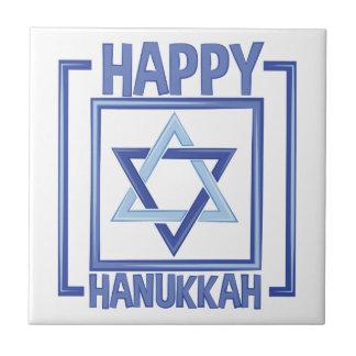 Happy Hanukkah Small Square Tile
