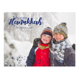 Happy Hanukkah Snow Bubbles Photo Postcards