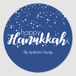 Happy Hanukkah Snow Bubbles Sticker Gift Tag