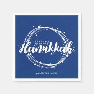 Happy Hanukkah Snow Bubbles Wreath Holiday Napkin Disposable Napkin