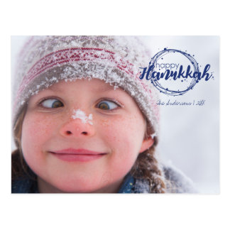 Happy Hanukkah Snow Bubbles Wreath Photo Postcards