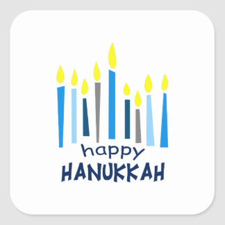 HAPPY HANUKKAH SQUARE STICKER