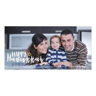 Happy Hanukkah Star of David Photo Card