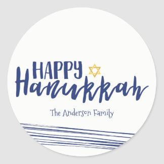 Happy Hanukkah Star of David Sticker Gift Tag