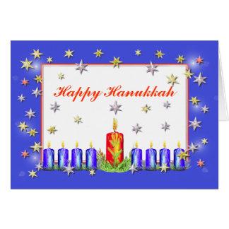 Happy Hanukkah Stars and Candles Card