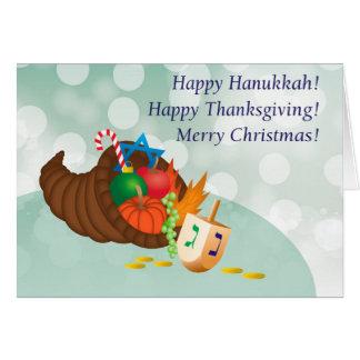 Happy Hanukkah, Thanksgiving, Christmas! Card