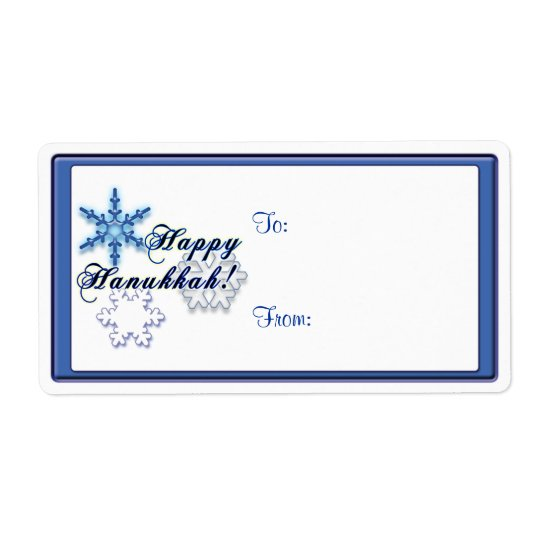 Happy Hanukkah with Snowflakes Shipping Label
