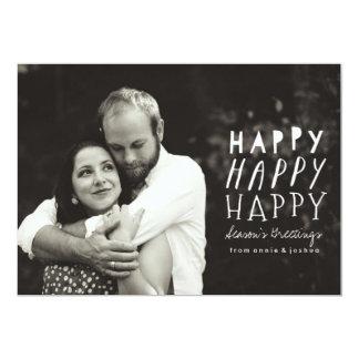 Happy Happy Happy Holiday Photo Card 13 Cm X 18 Cm Invitation Card