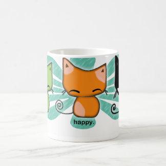 happy.happy.meh kitties with aqua flower on a mug