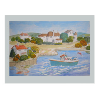 Happy Harbour painting, folk art add name, message Postcard