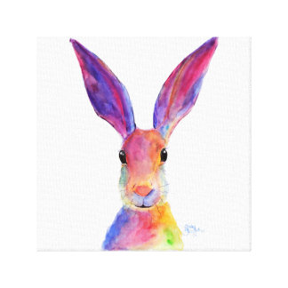 Happy Hare 'Jelly Bean' by Shirley MacArthur Canvas Print