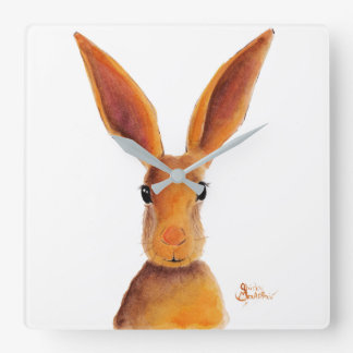 Happy Hare / Rabbit ' GOLDEN JELLY BEAN ' Square Wall Clock