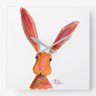 Happy Hare  Rabbit ' LoLLy ' by Shirley MacArthur Square Wall Clock