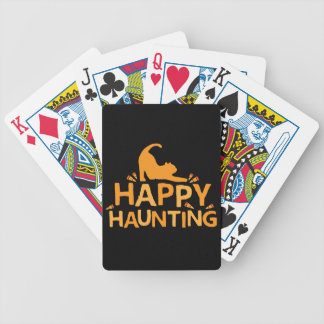 happy haunting with cat and corn bicycle playing cards