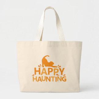 happy haunting with cat and corn jumbo tote bag
