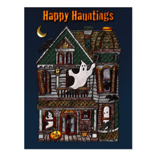 Happy Hauntings Haunted House Post Card