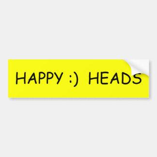 HAPPY :)  HEADS CAR BUMPER STICKER