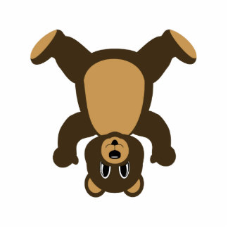 Happy Headstand Brown Bear Photo Cut Out