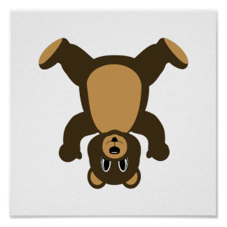 Happy Headstand Brown Bear Poster