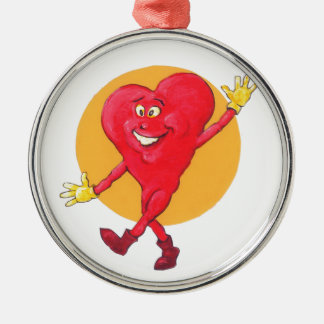 Happy Healthy Heart Silver-Colored Round Decoration
