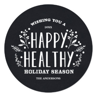 Happy Healthy Holiday | Holiday Photo Card 13 Cm X 13 Cm Square Invitation Card