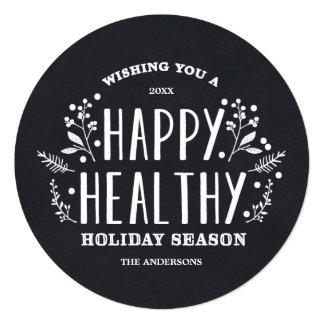 Happy Healthy Holiday   Holiday Photo Card 13 Cm X 13 Cm Square Invitation Card