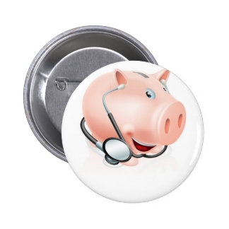Happy healthy piggy bank buttons