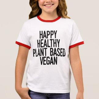 Happy Healthy Plant Based Vegan (blk) Ringer T-Shirt