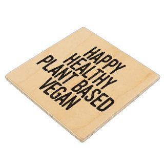 Happy Healthy Plant Based Vegan (blk) Wood Coaster