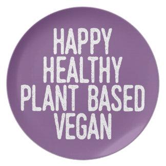 Happy Healthy Plant Based Vegan (wht) Plate