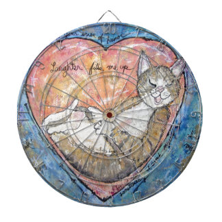 Happy heart cat dartboard