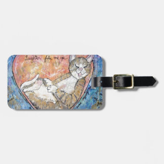 Happy heart cat luggage tag