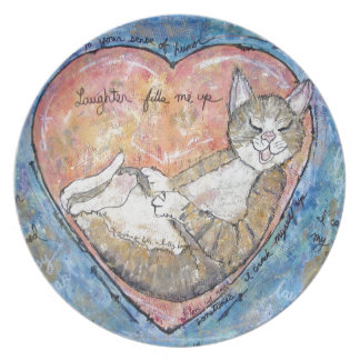 Happy heart cat plate