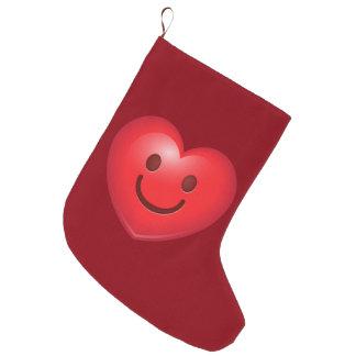 Happy Heart Emoji Large Christmas Stocking