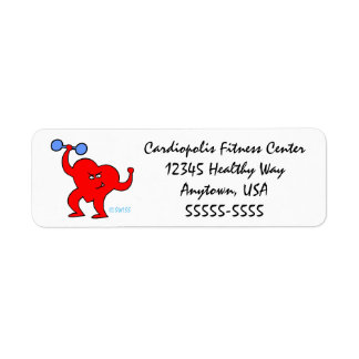 Happy Heart Health Exercise Fitness Workout Return Return Address Label
