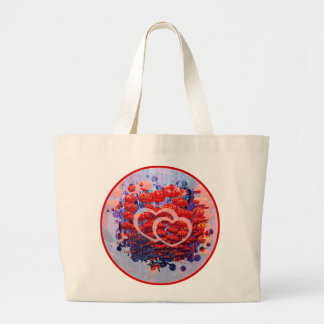 Happy heart lanterns large tote bag