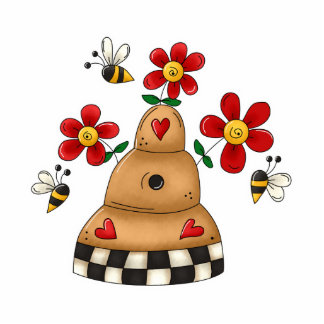 Happy Hearts N Flowers Bee Hive Photo Sculpture Decoration